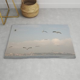 Seagulls in Istanbul on Pastel colored sky Rug