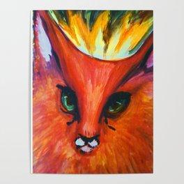 Fire Cat Portrait Poster
