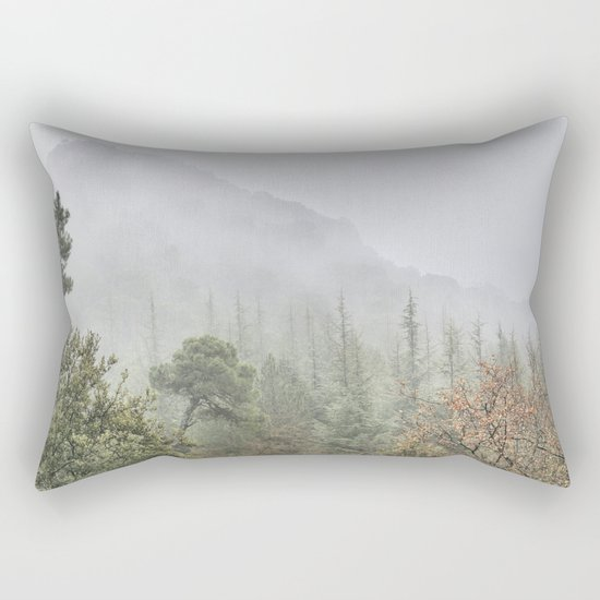 Into the deep forest. Foggy morning Rectangular Pillow