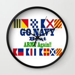 Go Navy, Beat Army in Signal Flags Wall Clock