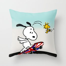 snoopy skateboard Throw Pillow