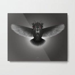 Strange Hummingbird 2A. Black, white & grey.(Red eyes series) Metal Print