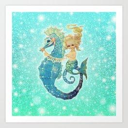Glitter Mermaid Seahorse Art Print