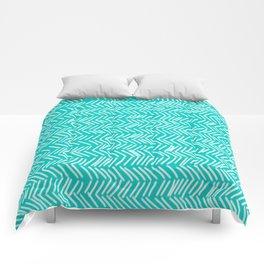 Turquoise Herringbone Lines Comforters