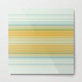 Marigold orange Teal Stripes Metal Print