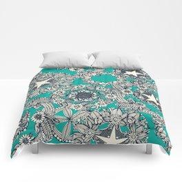 cirque fleur turquoise Comforters