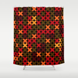 An abstract geometric pattern . Rustic . Shower Curtain