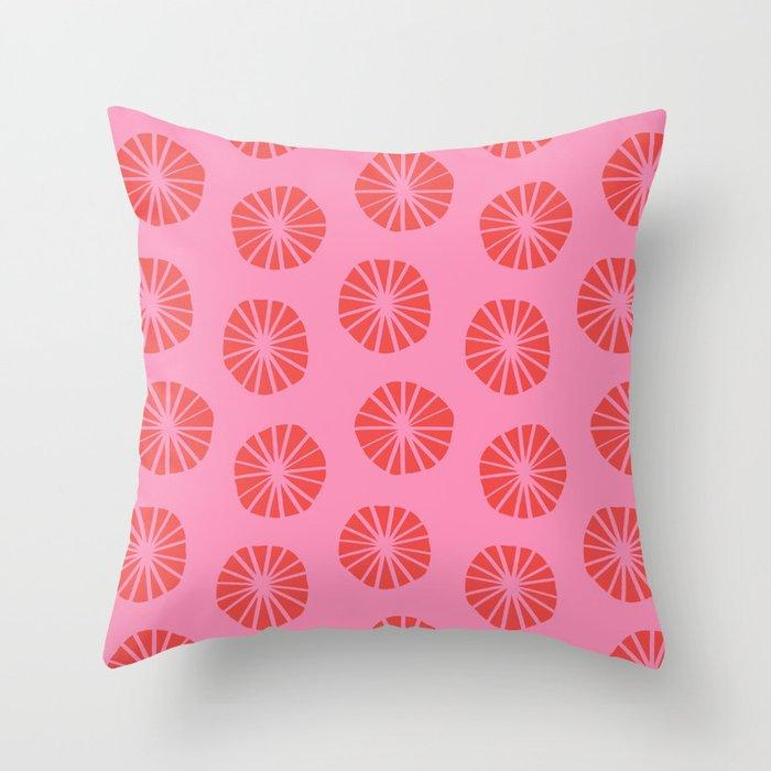 Mod Scandinavian Dandelions in Red + Pink Throw Pillow