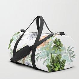 Succulents Mint Green Lavender Lilac Coral Violet Pattern Duffle Bag