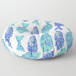 Indonesian Fish Duo – Navy & Turquoise Palette Floor Pillow