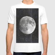 Moon and Stars White Mens Fitted Tee MEDIUM