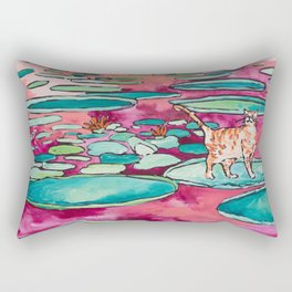 Ginger Cat amongst the Lily Pads on a Pink Lake Rectangular Pillow