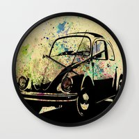 beetle Wall Clocks featuring Beetle by Del Vecchio Art by Aureo Del Vecchio