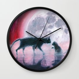 cats meeting at full moon Wall Clock