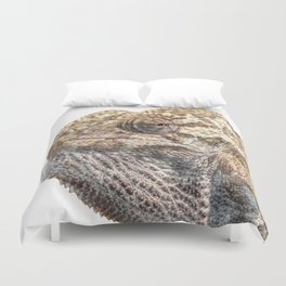 Chameleon With Sinister Facial Expression Isolated Duvet Cover
