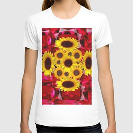 JULY RUBY RED GEMSTONES & YELLOW FLOWERS T-shirt