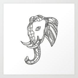 Bull  Elephant Head Doodle Art Art Print