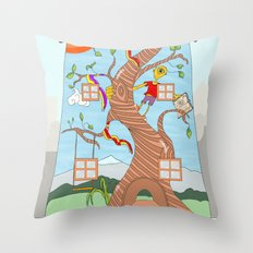 Childhood on a wall Throw Pillow