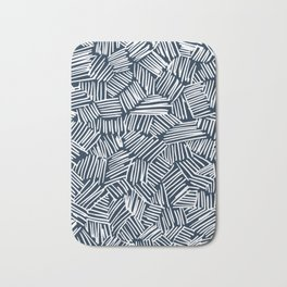 Navy blue criss cross Bath Mat