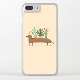 Dachshund & Parrot Clear iPhone Case