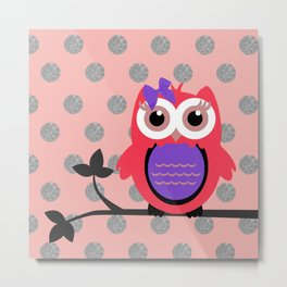 Owl with Hair Bow Silver Glittery Circles Metal Print