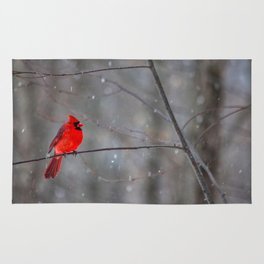 Cardinal In the Snow Rug