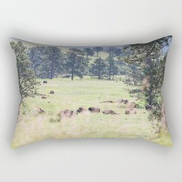 Where the Buffalo Roam - Nature Photography Rectangular Pillow