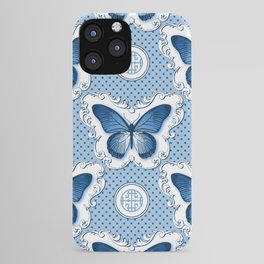 Chinoiseries Porcelain Butterfly Blue iPhone Case