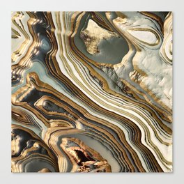 White Gold Agate Abstract Canvas Print