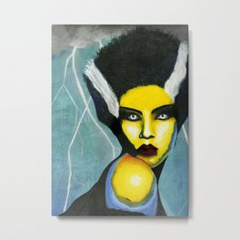 Pop Bride of Frankenstein Metal Print