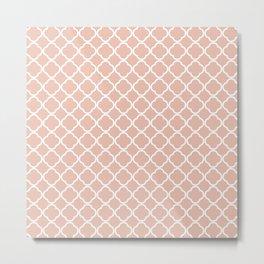 Modern coral white chic quatrefoil pattern Metal Print