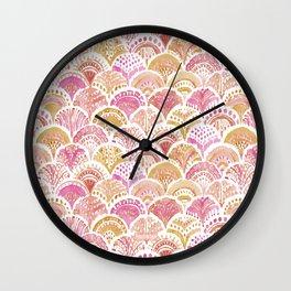 Sunset MERMAID DAYDREAMS Watercolor Scales Wall Clock