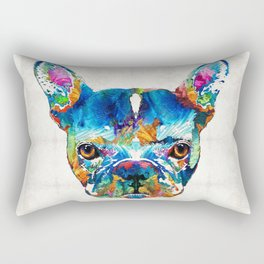 Colorful French Bulldog Dog Art By Sharon Cummings Rectangular Pillow
