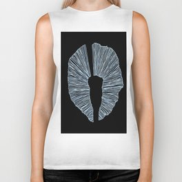 Black and White King Tut Abstract Biker Tank