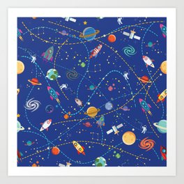 Space Rocket Pattern Art Print
