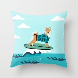 shiba inu surfing dog breed pattern Throw Pillow