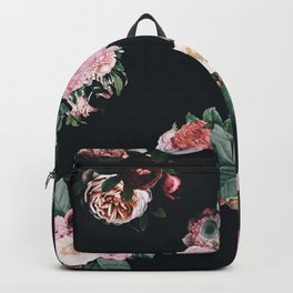 Floral,vintage,french chic,black,pink,roses,art nouveau,Belle Époque,chic country,elegant,classy,modern,trendy Backpack