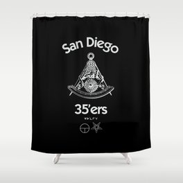 San Diego 35'ers Masonic Rorschach Patch Shower Curtain