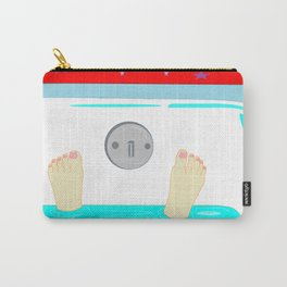 Soaking in the Tub with Red Wallpaper Carry-All Pouch