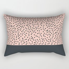 Dark navy dots on pale pink Rectangular Pillow