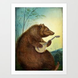 Mandolin Bear Art Print