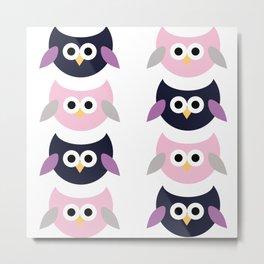 Cute owls - pink and purple Metal Print