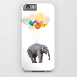 Dreaming Elephant Flying, Animal Zoo Nursery Photo, Large Printable Birthday Party Wall Art iPhone Case