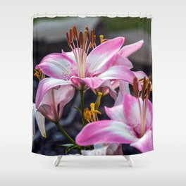 Pink & White Lilly Shower Curtain