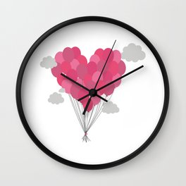 Balloons arranged as heart Wall Clock