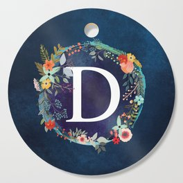 Personalized Monogram Initial Letter D Floral Wreath Artwork Cutting Board