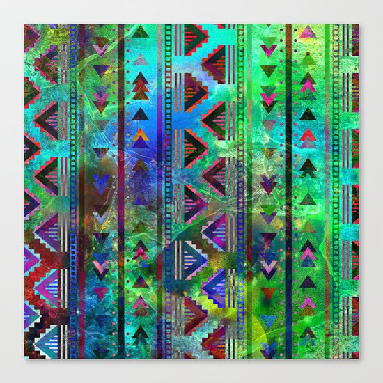 blue green pattern triangles Canvas Print