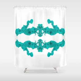 Cyan Ink Drop In Water Shower Curtain