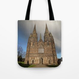 Stormy Clouds Over The Lichfield Cathedral Tote Bag