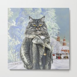 Siberian Cat in a fur coat.The snow winter landscape with tiny frost pattern. Funny Animal Character. Watercolor Animal Portrait of a cat Metal Print